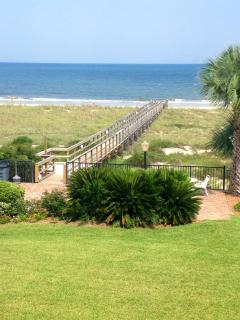 walkway to the beach from condo