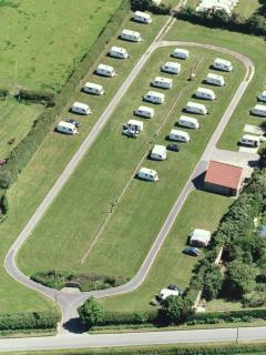 Arial view of the caravan site, the shepheds hut is located in the top right corner.