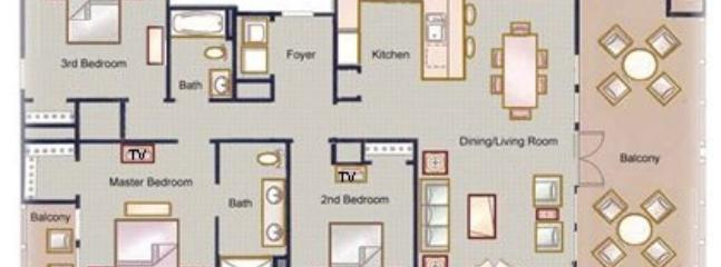 Floorplan of the 3 bedroom unit, shows approximately how the beds and other furniture is configured.