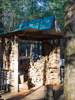 The wood shed just beyond the sauna. All wood for fires is provided.