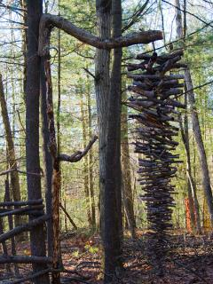 New wood sculpture hanging just beyond the cabin area, 14' tall