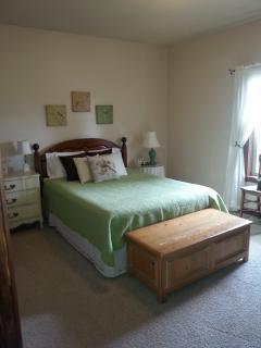 Queen Guest Bedroom has door directly to bathroom. Comfy Memory Foam Topper. Relaxing and Cozy