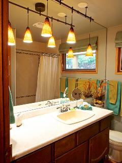 NEW ~ mouth blown fixtures w led lighting makes a warm and romantic washroom