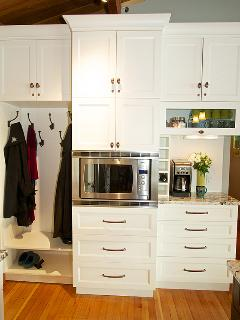 NEW entry wall w convection/microwave oven, beverage center for wine, tea & coffee, coat 'closet'