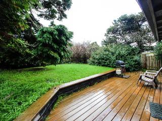 Dog-friendly oceanview home with hot tub & huge deck! One block from the beach!