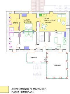 Piantina in giallo Appartamento 1 Piano