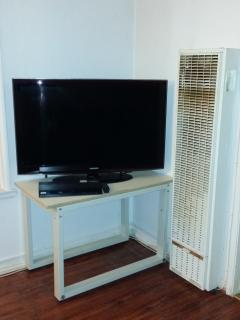 TV, I watch TV but you may like it.  On the right is the gas heater.