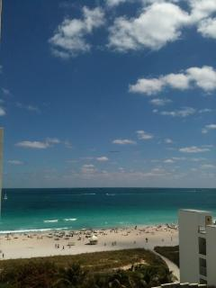 View of Beach from 9th floor apartment looking east - west you can see South beach sunsets
