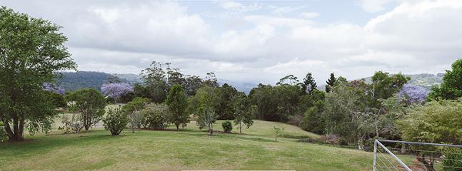 The view of the rolling pastures from the veranda