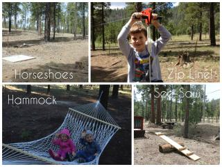 A zip line, hammock, horseshoes, and a see-saw!  So many fun activities in our yard!