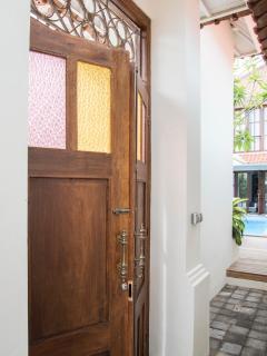 Entrance doors to villa