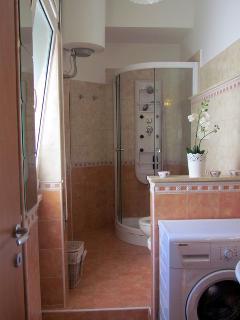 Bagno con comoda doccia, servizi e lavatrice