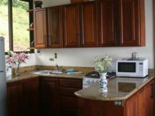 Full kitchen with all your pantry items, dishes and a gas stove.