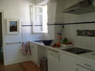 Well equipped kitchen, overlooking the river