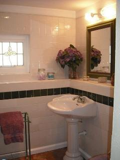 Bathroom, shower, washer /dryer, hair dryer, pedestal sink.