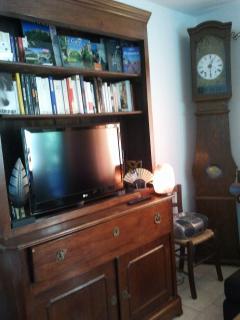 Private bookcase and antique clock