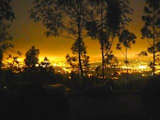 View from the central patio at night over Tumbaco