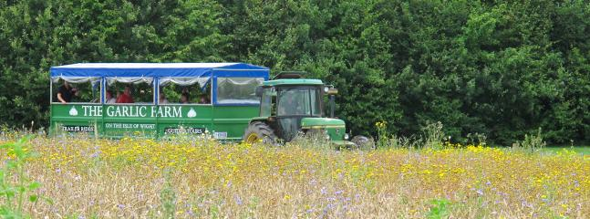Jump onboard the tractor trailer for a tour of the farm