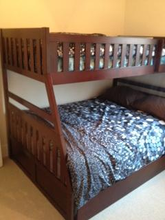 Bunk Bedroom with Twin over Full Bed with pullout Twin trundle bed (so 3 beds