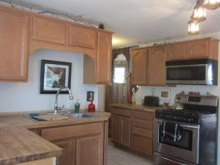 New Kitchen with Stainless Steel fridge, dishwasher, stove and microwave