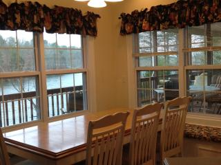 Check out the deck and lake from the dining nook.