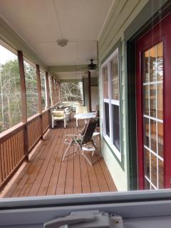 Out to the back covered deck.