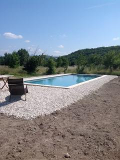 The pool was newly finished when this was taken, the earth is now grass