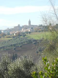 Montecassiano view from the pool in the winter morning