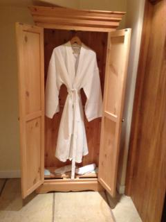Bathrobes & slippers, lovely after a long soak in the hot tub!