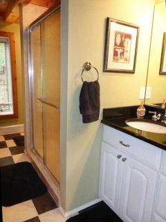 first floor bath with custom tile shower