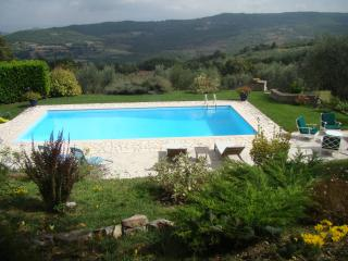 Saltwater pool overlooking valley to Todi