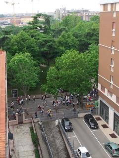 Marathon view from the balconies. The station is behind the trees