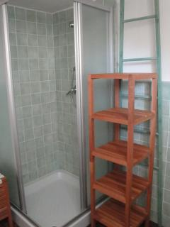 First bathroom with large shower box