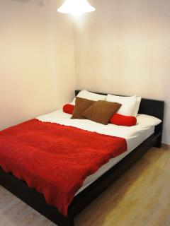 Main bedroom with queen sized bed, closet, A/C