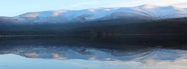 Cairngorm Mountains and Loch Morlich. Has a sandy Beach
