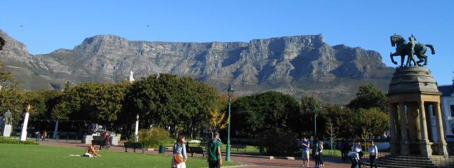 View of Table Mountain from the company gardens in the city centre