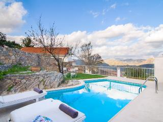 The pool area with full privacy and views to the valley
