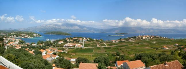 Panorama of Lumbarda, like it? You can see it all from our balcony!