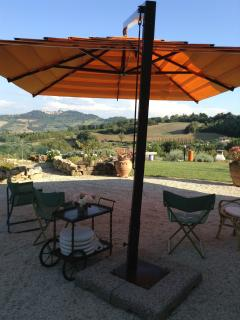 Dining, afternoon or evening on the large terrace.