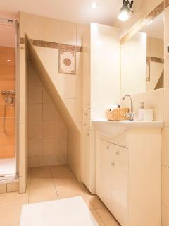 Family bathroom with big shower, toilet and washing machine.