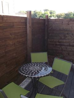 The kitchen has a small terrace to the front of, ideal for a quiet breakfast in the morning sun