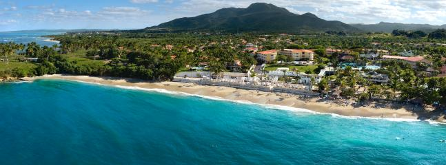 Aerial view of beach front resort