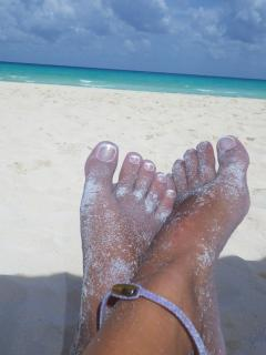 Sand in the toes.