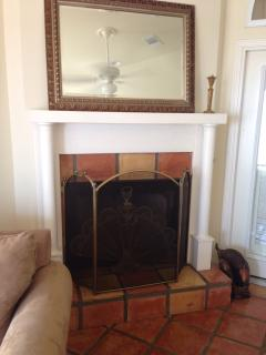 One of 2 wood burning fireplaces