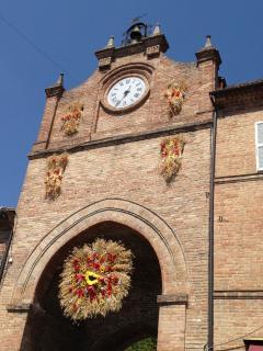 Medieval clock tower in Amandola piazza