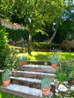 Steps leading to top garden