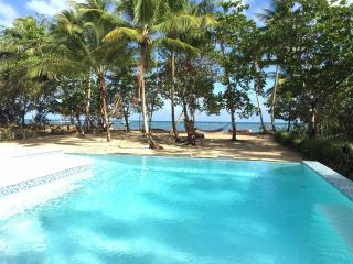 Sitting on our veranda, overlooking pool to the beach