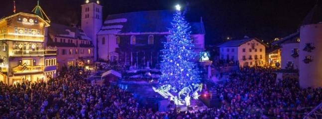 Megeve village centre at New Year