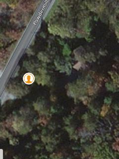 Sky View, driveway is below orange dot,diagonal left to right. cabin is 2 lg trees to the right