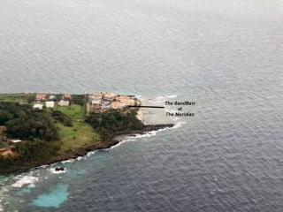 View of The SandBarr from the plane. Location is the most westerly point on Roatan.